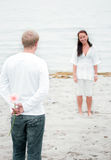Young couple romance on the beach Stock Photo