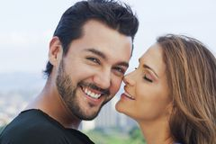 Young couple romancing. Close-up of a young couple romancing Royalty Free Stock Photo