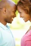 Young couple romantic portrait stock photo