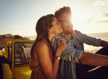 Young couple on romantic road trip Stock Photography