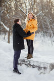 Young couple on romantic  winter walk in a park Royalty Free Stock Photos