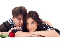 Young couple with rose Stock Images