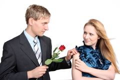 Young couple with rose Stock Photography