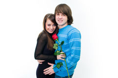 Young couple with rose Stock Photo