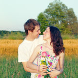 Young couple with rose Royalty Free Stock Photos