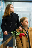 Young couple with roses. Royalty Free Stock Photography