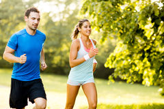 Young couple running Stock Image