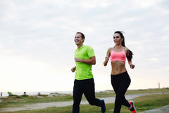 Young couple running in the morning and an active lifestyle Stock Photo