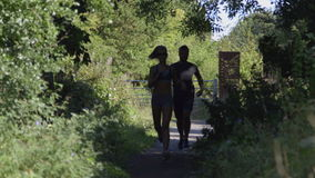 Young couple running together. Along a woodland path on a sunny day stock video footage