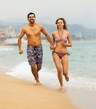 Young couple runs Stock Photo