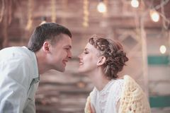 Couple`s happiness concept : Beautiful woman plays with her husband. Young couple`s happiness concept : Beautiful women plays with her husband royalty free stock photos