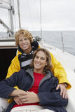 Young Couple On Sailboat Stock Photography