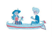 Young couple sailing on a boat. Dating. Hand drawing illustration.  vector.  Can be used for your design project Royalty Free Stock Images