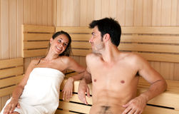 Young couple in a sauna Stock Image
