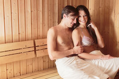 Young couple in sauna Royalty Free Stock Photography