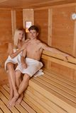 Young couple in sauna Stock Photos
