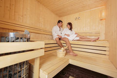 Young couple in the sauna Royalty Free Stock Image