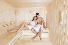 Young couple in the sauna Royalty Free Stock Images