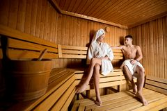 Young couple in the sauna Stock Photography