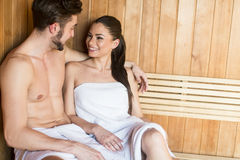Young couple in the sauna Royalty Free Stock Photography