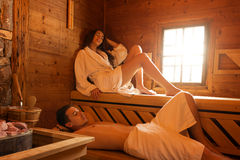 Young couple in sauna Royalty Free Stock Images