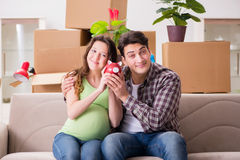 The young couple saving money for baby to be born Stock Photography