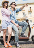 Young couple on scooter Royalty Free Stock Photo