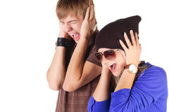 Young couple screaming. Royalty Free Stock Image