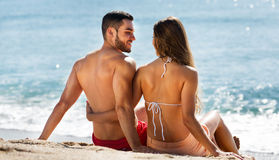 Young couple at sea shore Stock Image