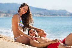 Young couple at sea shore Stock Photo