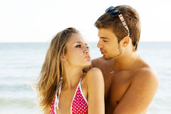 Young couple on the sea side Royalty Free Stock Photography