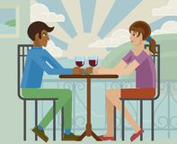 Young Couple Sea Side Restaurant Cartoon. Young couple or friends drinking wine at a beach sea side restaurant cartoon stock illustration