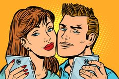 Young couple selfie on smartphone stock illustration