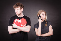 Young couple in separation because of betrayal. Royalty Free Stock Photos