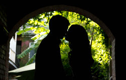Young couple sharing a private moment. A young couple share a private moment Royalty Free Stock Image