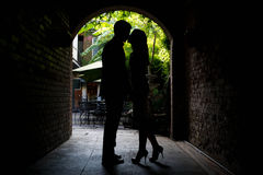 Young couple sharing a private moment. A young couple share a private moment Stock Photos