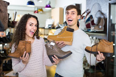 Young couple in a shoe store Stock Photo