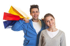 Young couple after shopping Stock Photography