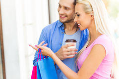 Young couple shopping Stock Images