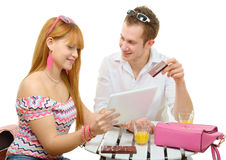 Young couple shopping on internet with tablet Stock Photo