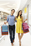 Young couple in shopping mall stock images