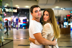Young Couple in the shopping mall Stock Photo