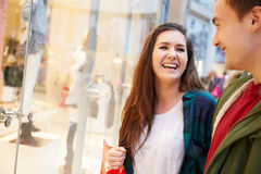 Young Couple Shopping Mall In Mall Together Stock Image