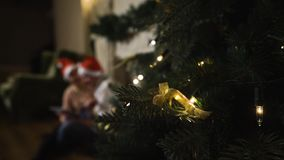 Young couple shopping online with Digital pad. Blur faces. Tree in focus stock video