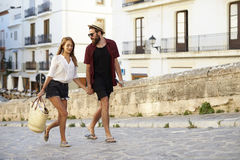 Young couple shopping on vacation in Ibiza, Spain Stock Image