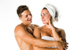 Young couple after shower Stock Photo
