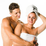 Young couple after shower Royalty Free Stock Images