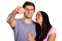 Young couple showing keys to house Stock Image