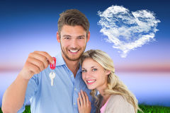 Young couple showing new house key Stock Image