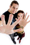 Young couple showing their palms Stock Photography